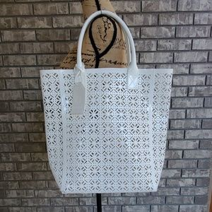 Tory Burch white cut out tote bag